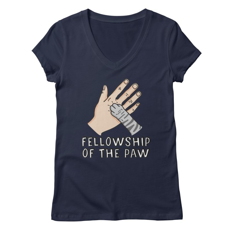 Fellowship of the Paw Women's Regular V-Neck by Beards and Cats Store