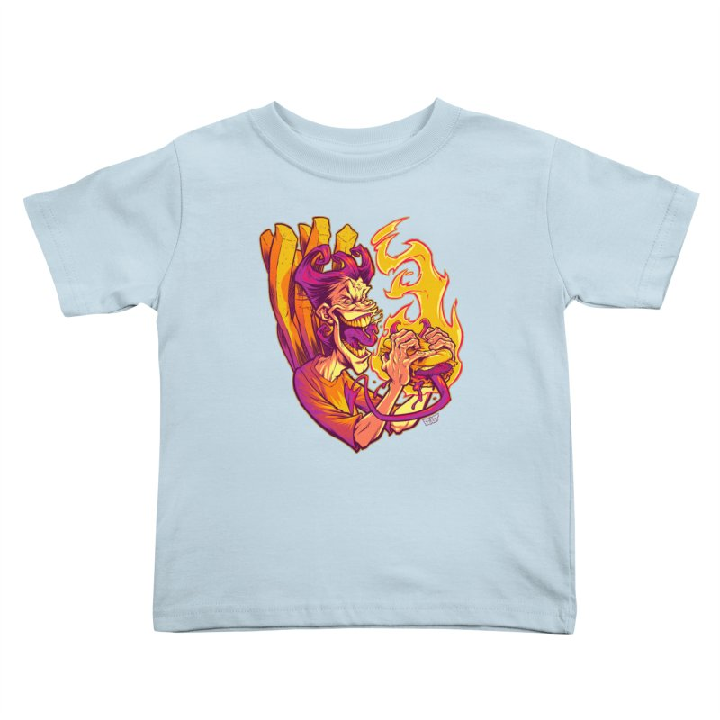 EVIL BOYS EATING EVIL HAMBURGERS Kids Toddler T-Shirt by Beastwreck