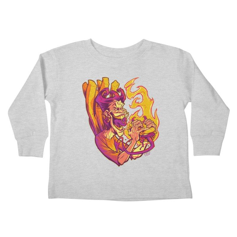 EVIL BOYS EATING EVIL HAMBURGERS Kids Toddler Longsleeve T-Shirt by Beastwreck