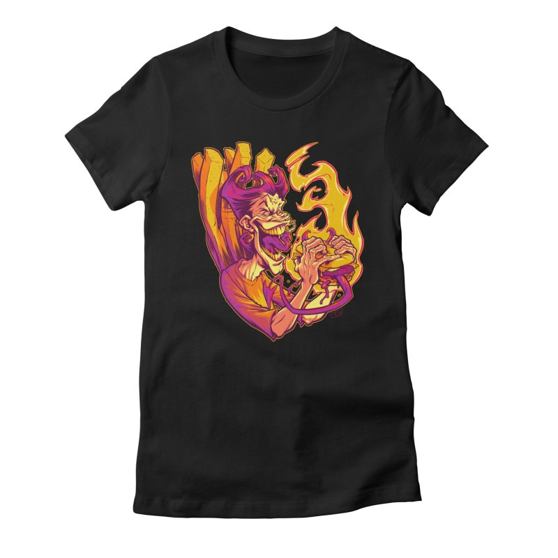 EVIL BOYS EATING EVIL HAMBURGERS Women's Fitted T-Shirt by Beastwreck