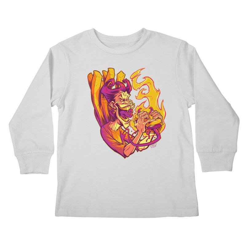 EVIL BOYS EATING EVIL HAMBURGERS Kids Longsleeve T-Shirt by Beastwreck