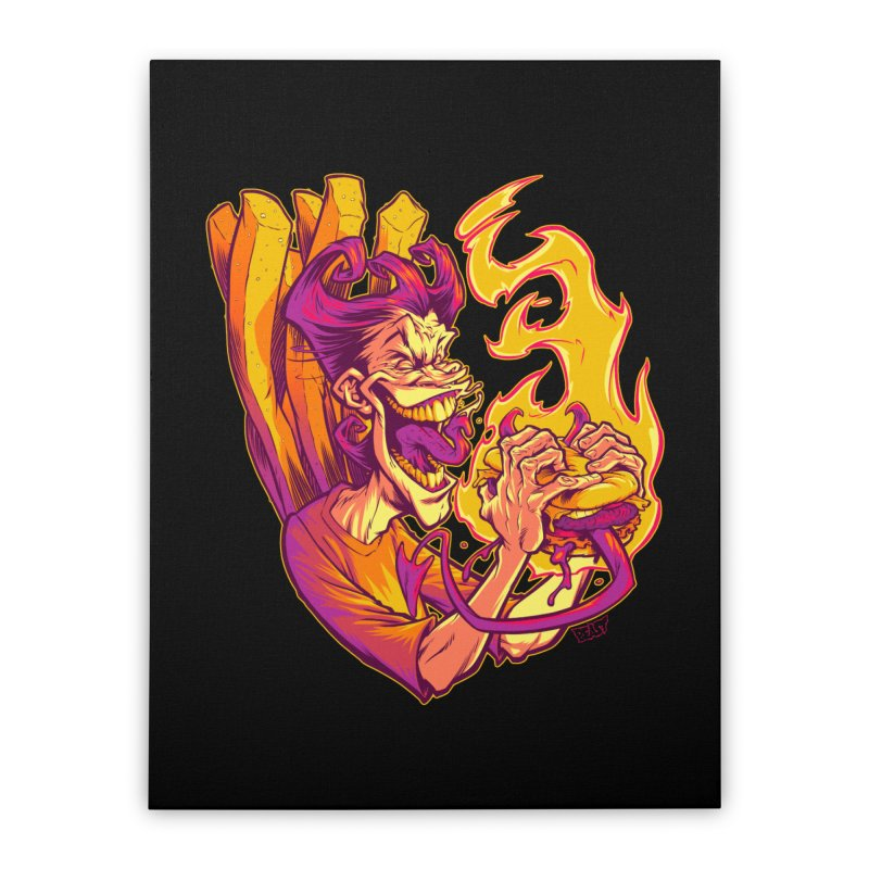 EVIL BOYS EATING EVIL HAMBURGERS Home Stretched Canvas by Beastwreck