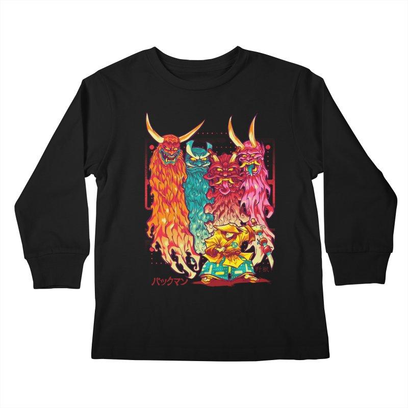 PAKKU-MAN Kids Longsleeve T-Shirt by Beastwreck