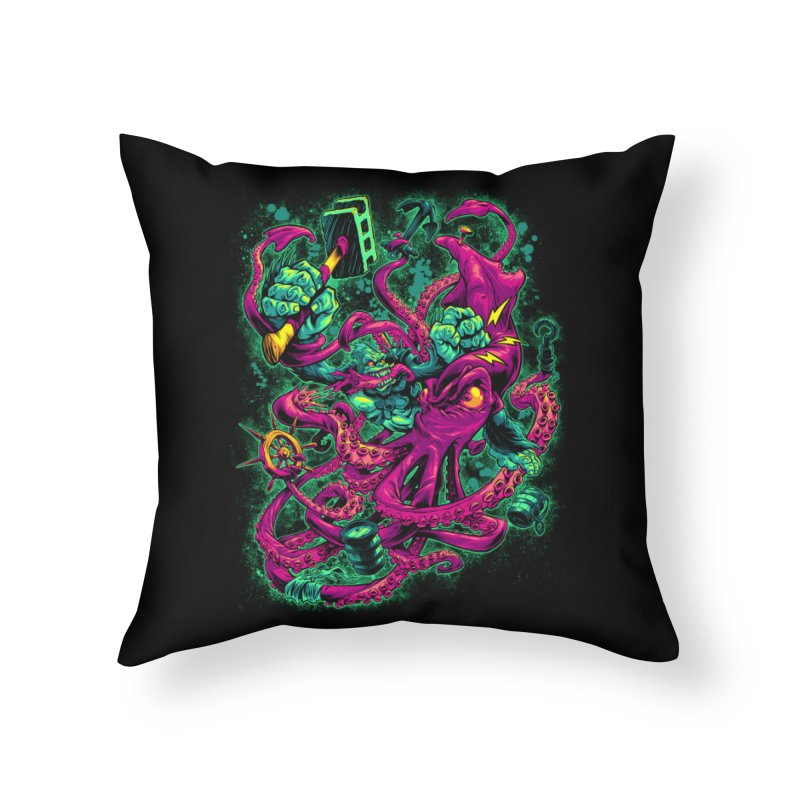 GORILLA VS. SQUID Home Throw Pillow by Beastwreck