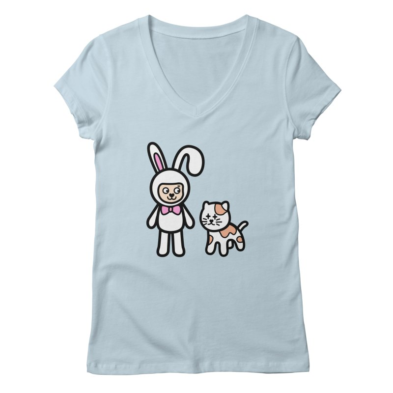 Happy together Women's V-Neck by beatbeatwing's Artist Shop