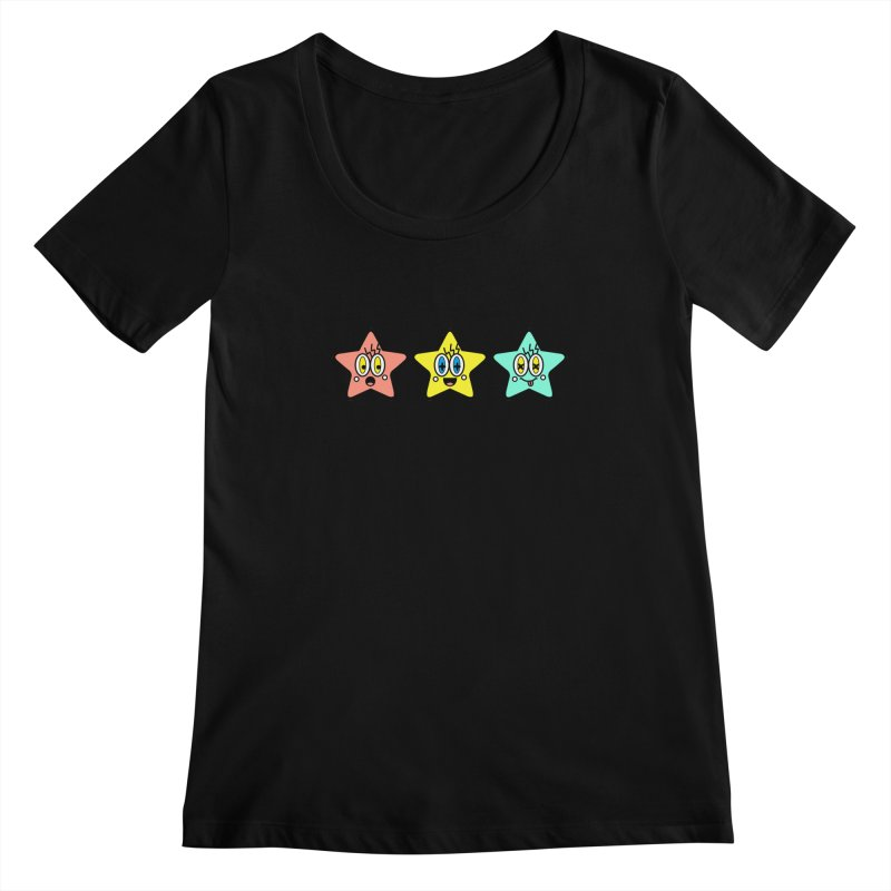Amazing Stars Women's Scoopneck by beatbeatwing's Artist Shop