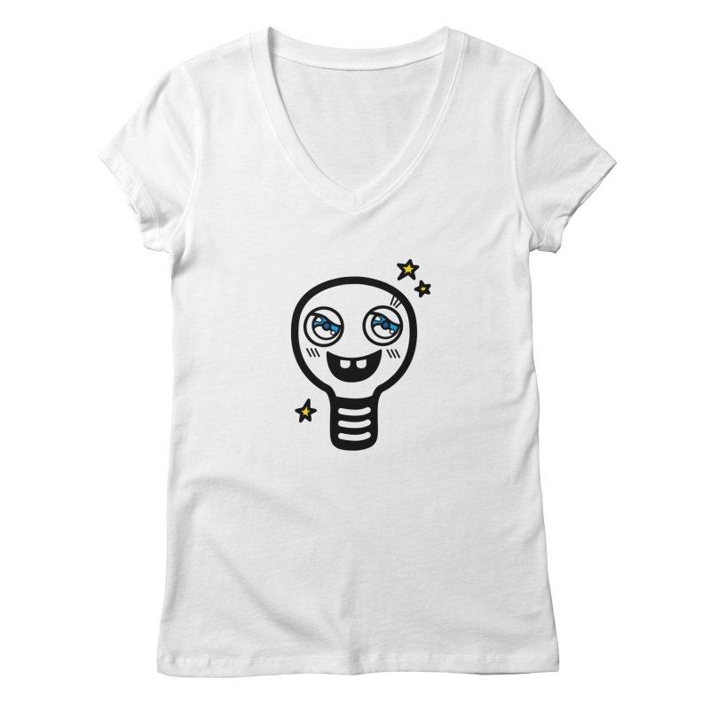 Shining light bulb Women's V-Neck by beatbeatwing's Artist Shop