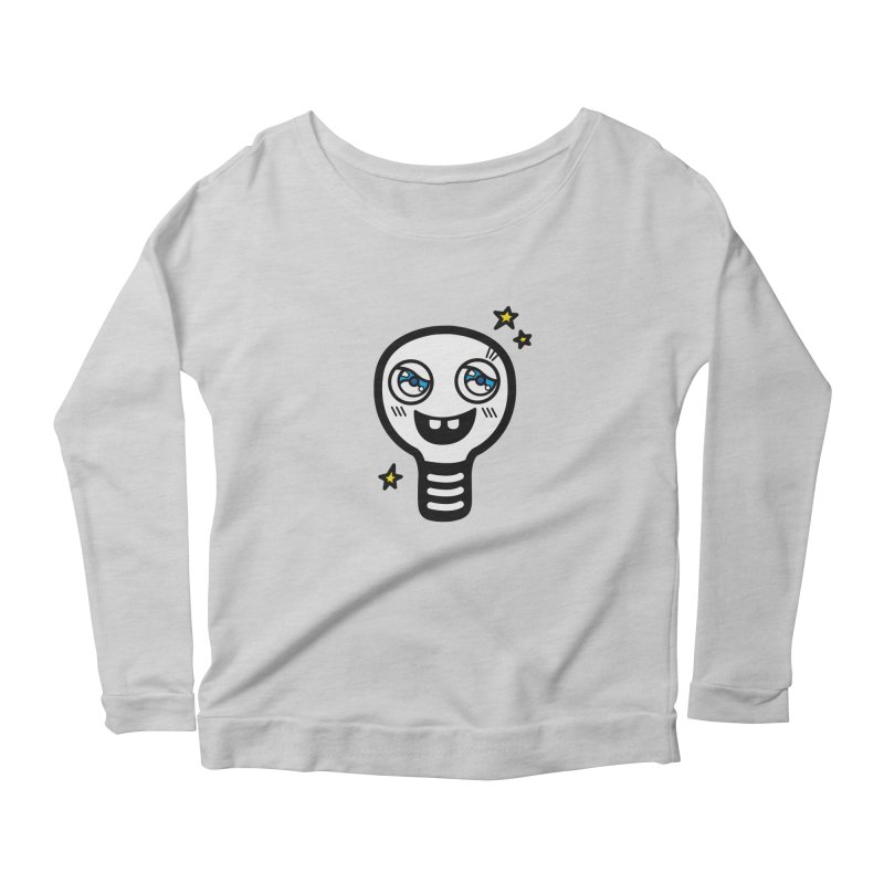 Shining light bulb Women's Scoop Neck Longsleeve T-Shirt by beatbeatwing's Artist Shop