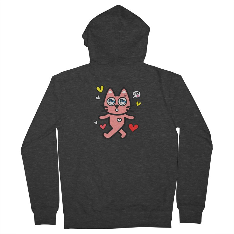 walking kitty Men's French Terry Zip-Up Hoody by beatbeatwing's Artist Shop