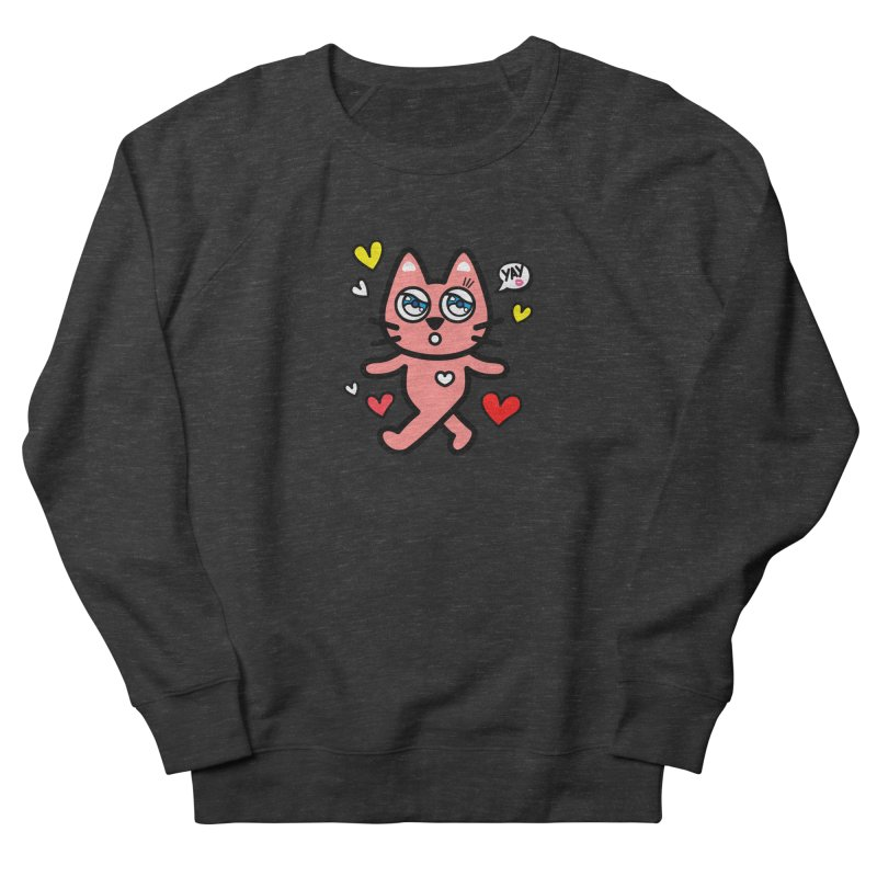 walking kitty Men's French Terry Sweatshirt by beatbeatwing's Artist Shop
