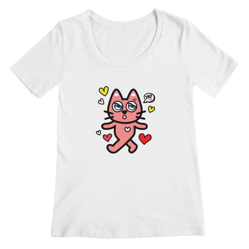 walking kitty Women's Regular Scoop Neck by beatbeatwing's Artist Shop