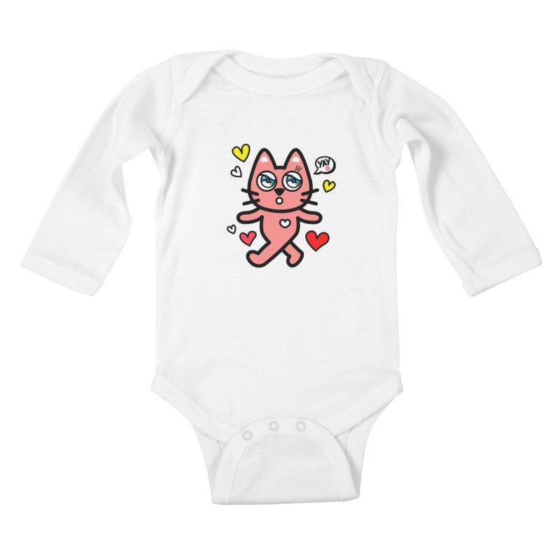 walking kitty Kids Baby Longsleeve Bodysuit by beatbeatwing's Artist Shop