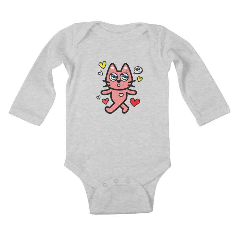 walking kitty Kids Baby Longsleeve Bodysuit by beatbeatwing's Artist Shop