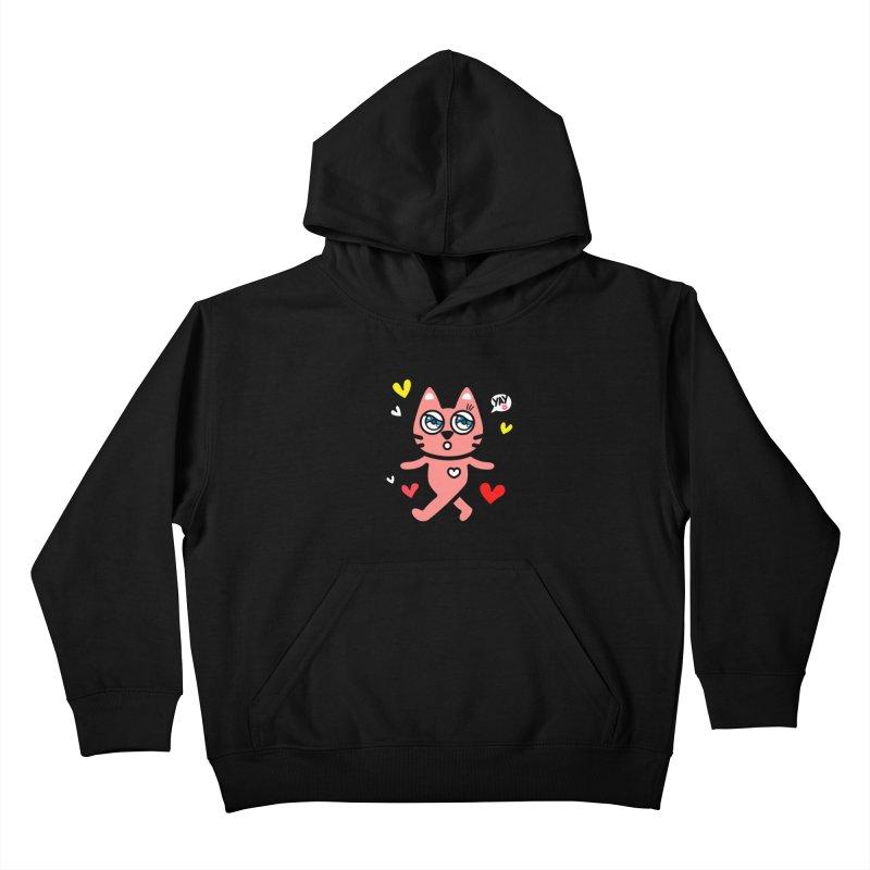 walking kitty Kids Pullover Hoody by beatbeatwing's Artist Shop