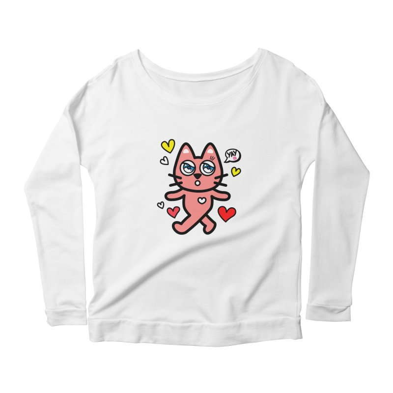 walking kitty Women's Longsleeve Scoopneck  by beatbeatwing's Artist Shop