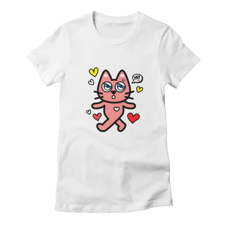 walking kitty Women's Fitted T-Shirt by beatbeatwing's Artist Shop