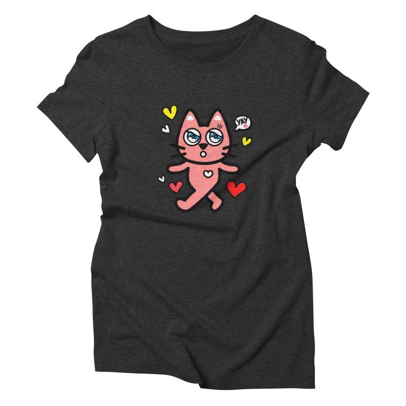 walking kitty Women's Triblend T-shirt by beatbeatwing's Artist Shop