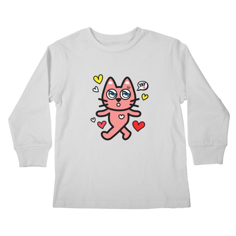 walking kitty Kids Longsleeve T-Shirt by beatbeatwing's Artist Shop