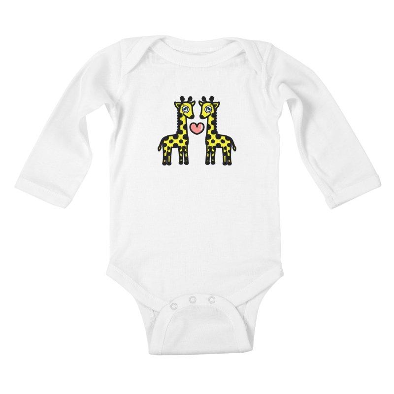 lovely Giraffe Kids Baby Longsleeve Bodysuit by beatbeatwing's Artist Shop