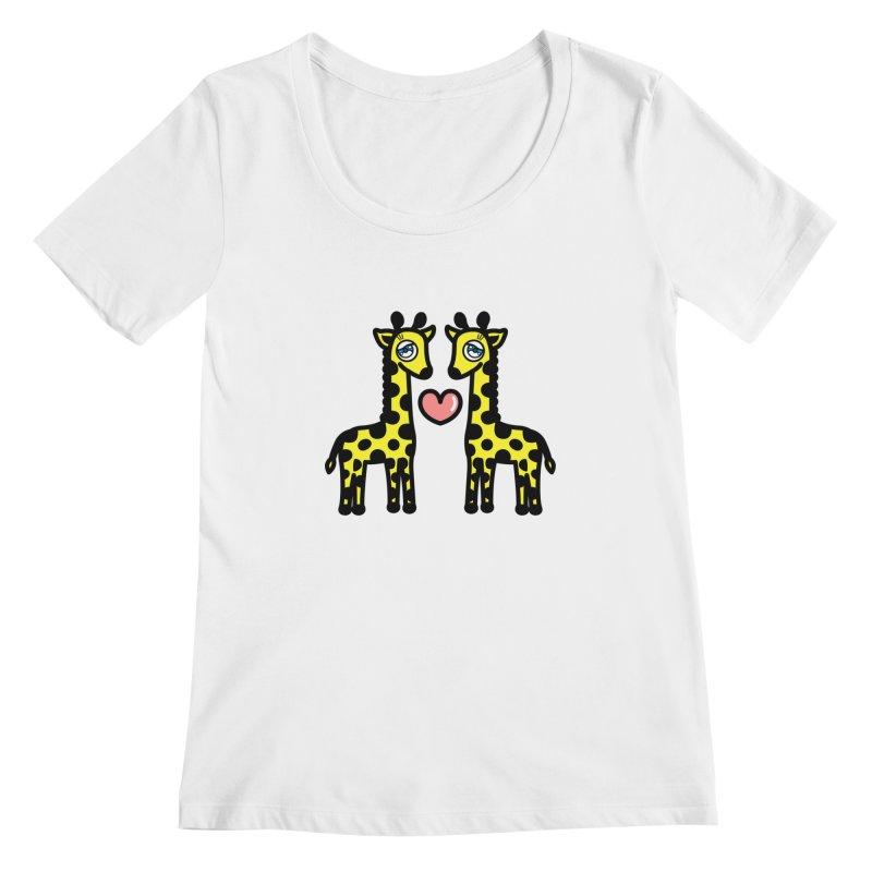 lovely Giraffe Women's Scoopneck by beatbeatwing's Artist Shop