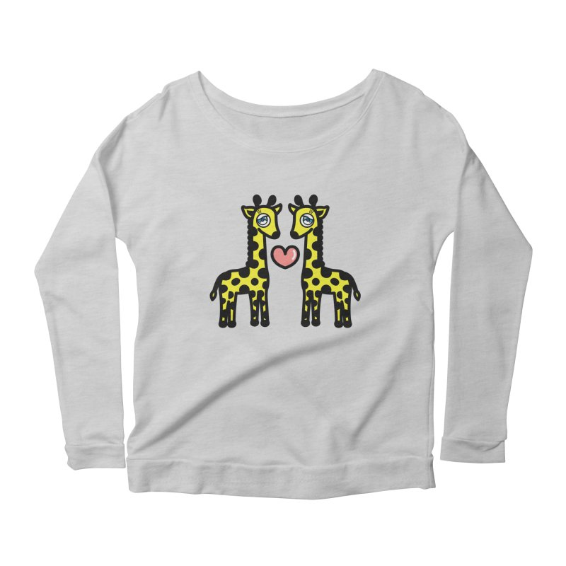 lovely Giraffe Women's Longsleeve Scoopneck  by beatbeatwing's Artist Shop