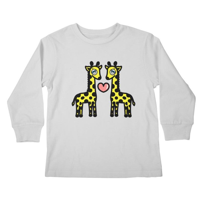 lovely Giraffe Kids Longsleeve T-Shirt by beatbeatwing's Artist Shop