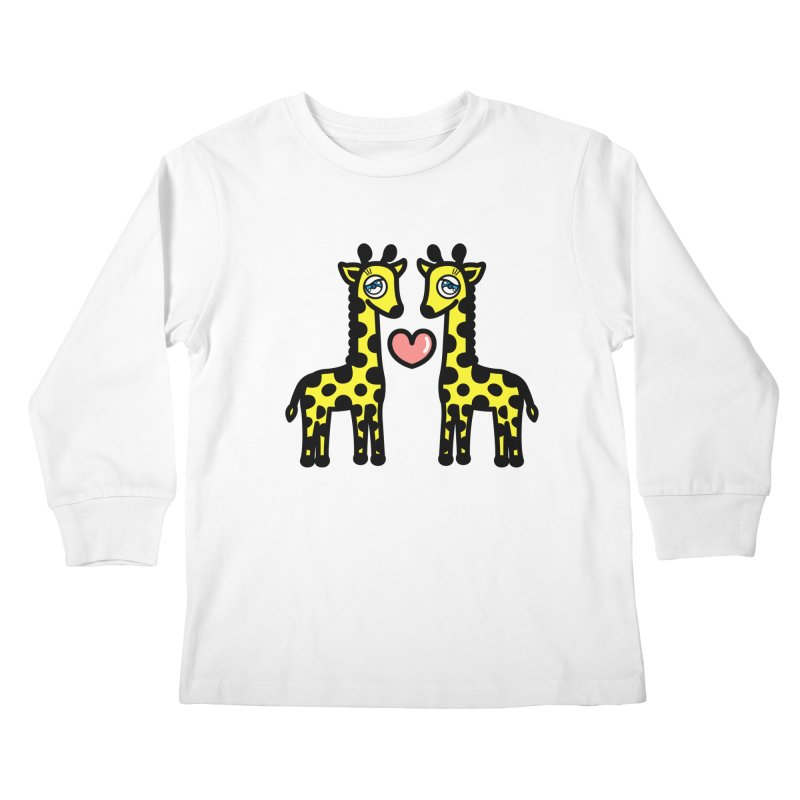 lovely Giraffe Kids Longsleeve T-Shirt by beatbeatwing's Artist Shop
