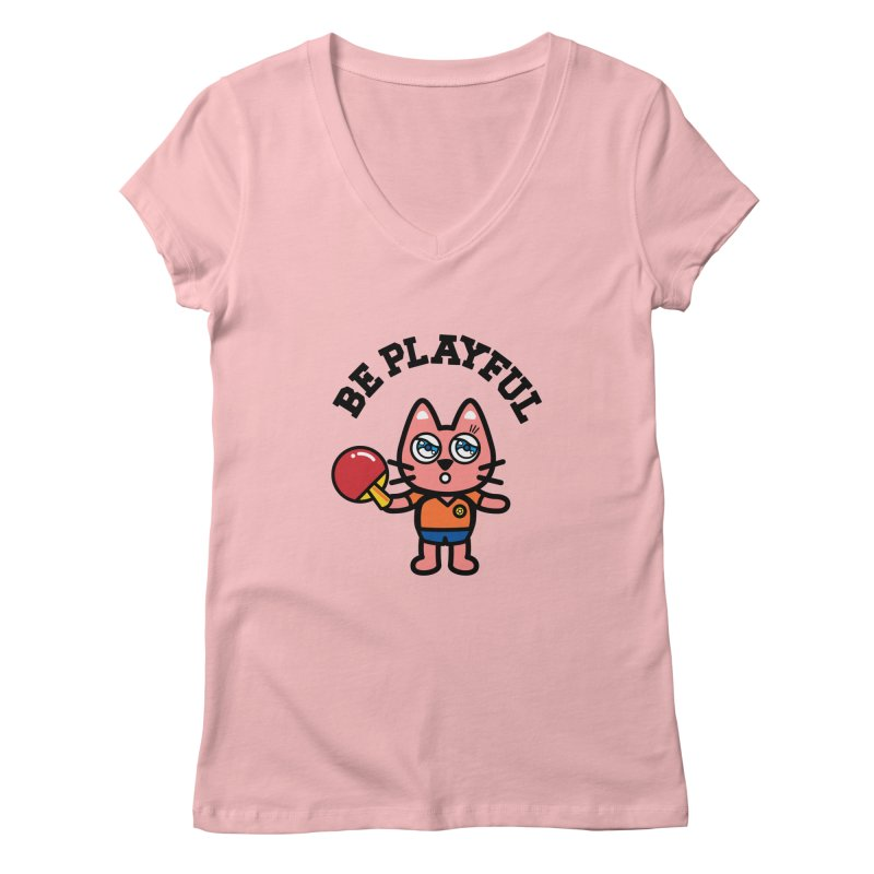 i am table-tennis player Women's V-Neck by beatbeatwing's Artist Shop