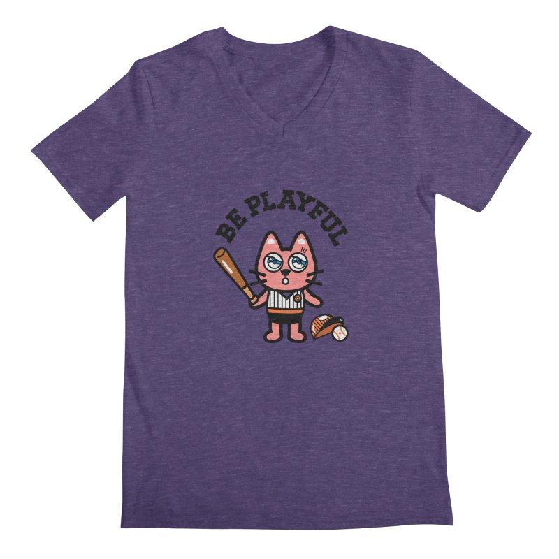 i am baseball player Men's Regular V-Neck by beatbeatwing's Artist Shop