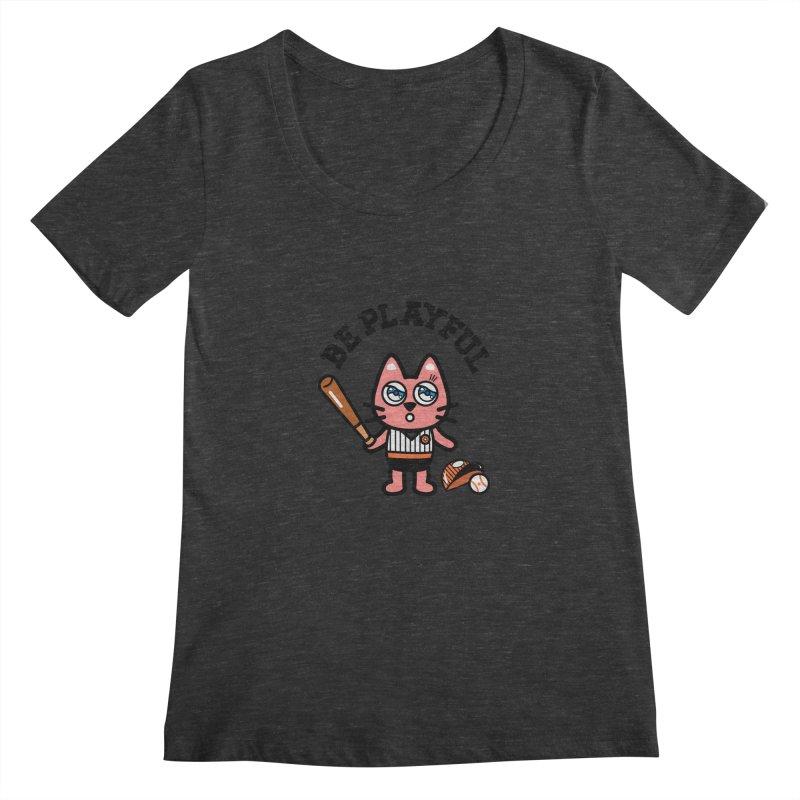 i am baseball player Women's Scoopneck by beatbeatwing's Artist Shop