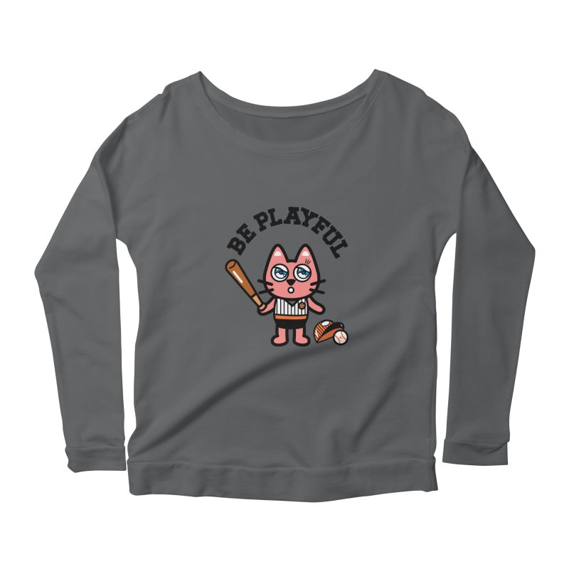 i am baseball player Women's Scoop Neck Longsleeve T-Shirt by beatbeatwing's Artist Shop