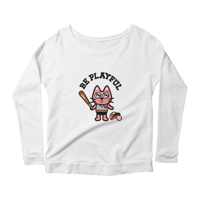 i am baseball player Women's Scoop Neck Longsleeve T-Shirt by beatbeatwing's Artist Shop