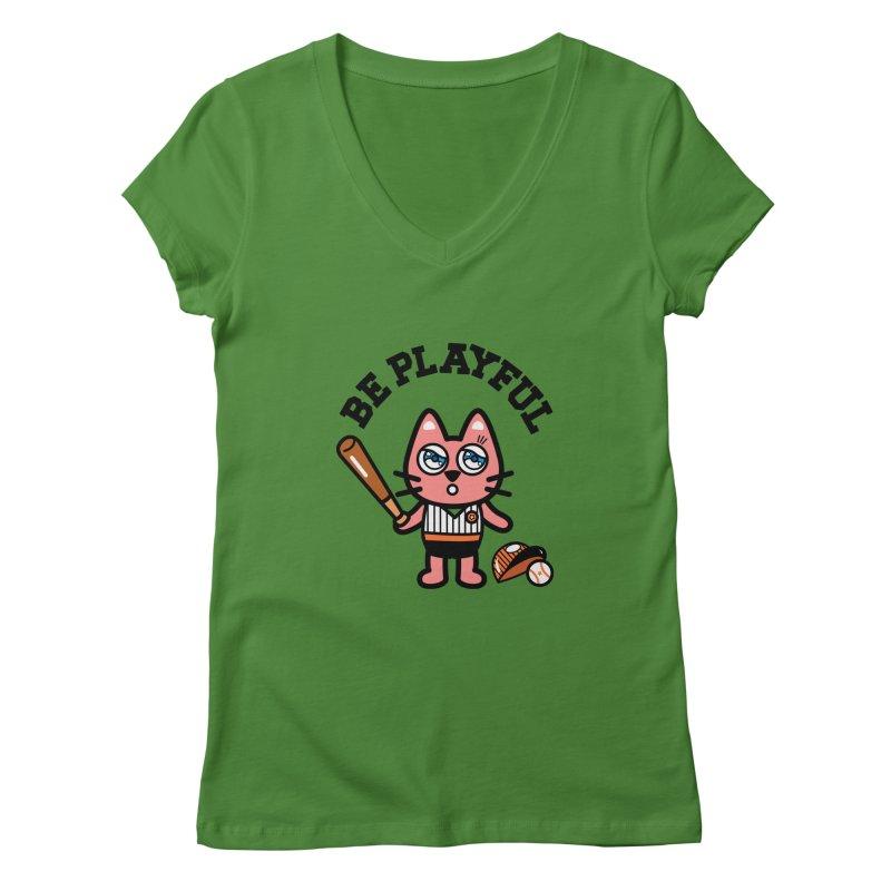 i am baseball player Women's V-Neck by beatbeatwing's Artist Shop