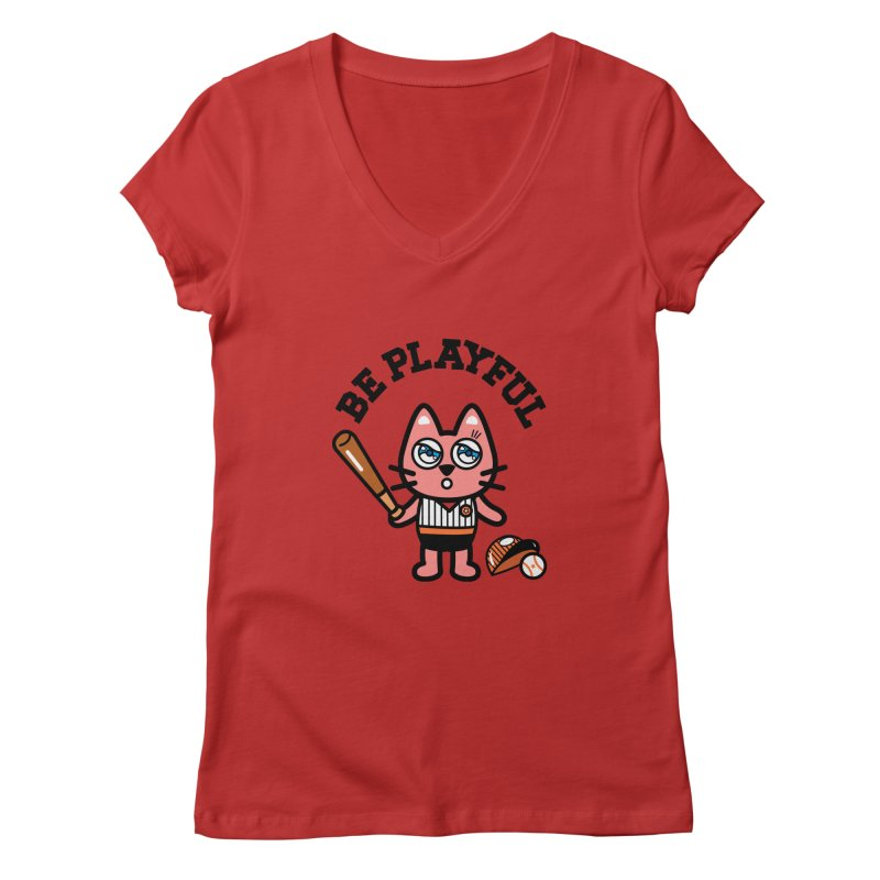 i am baseball player Women's V-Neck by beatbeatwing's Artist Shop