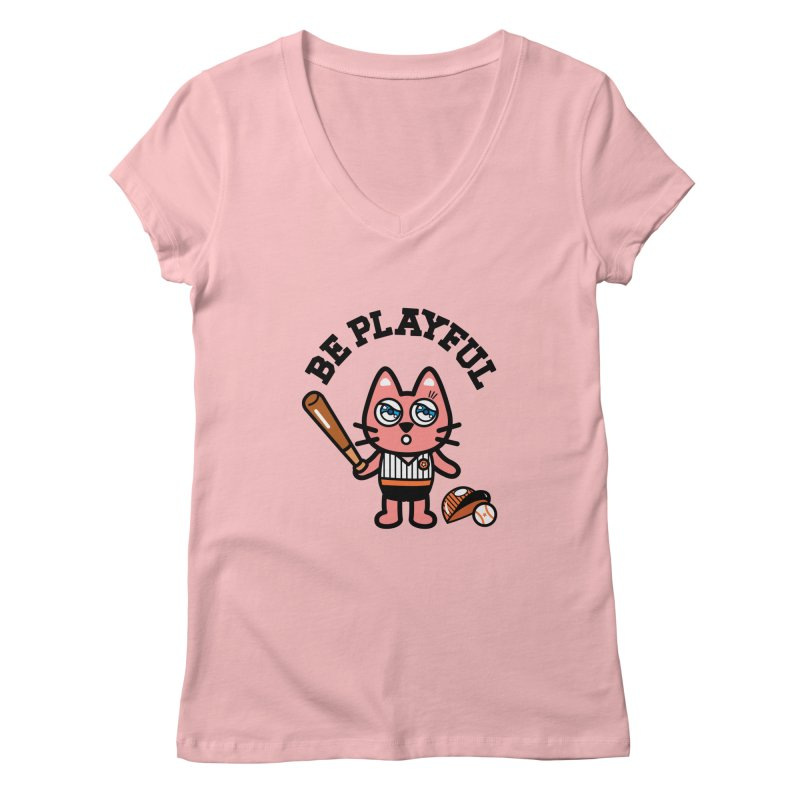 i am baseball player Women's Regular V-Neck by beatbeatwing's Artist Shop