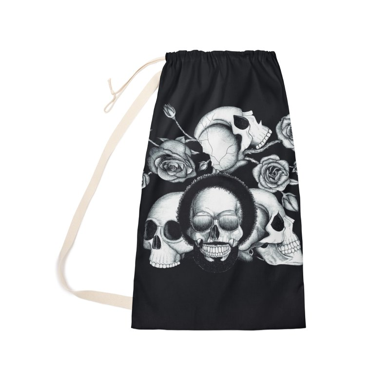 Grunge skulls and roses (afro skull included. Black and white version) Accessories Bag by Beatrizxe