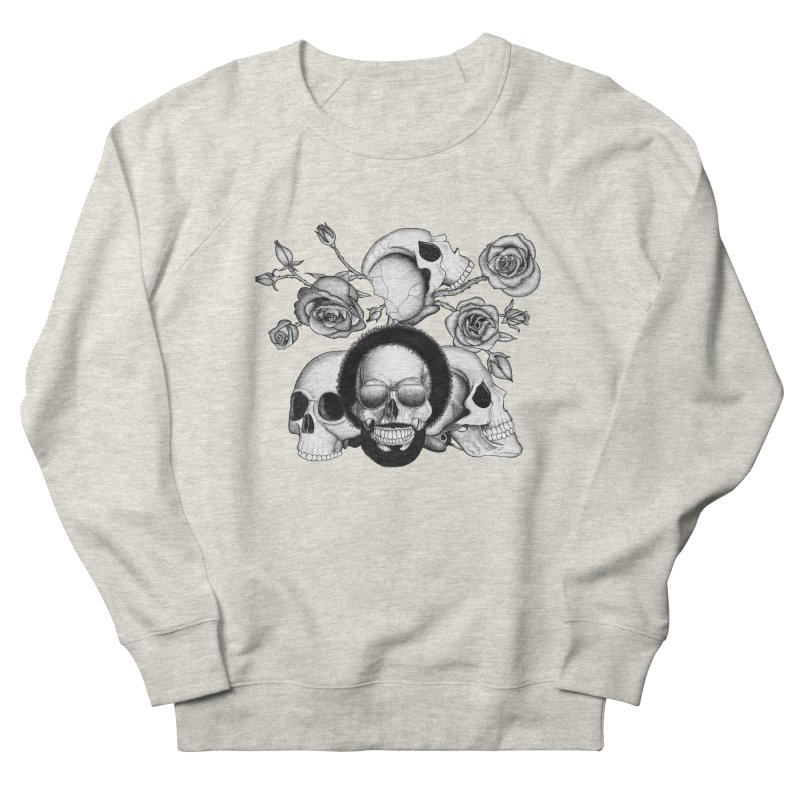 Grunge skulls and roses (afro skull included. Black and white version) in Women's French Terry Sweatshirt Heather Oatmeal by Beatrizxe