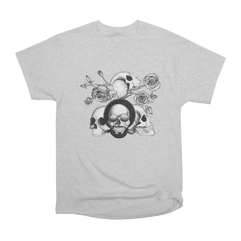 Grunge skulls and roses (afro skull included. Black and white version) Men's Classic T-Shirt by Beatrizxe