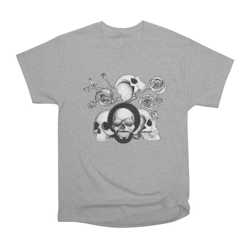 Grunge skulls and roses (afro skull included. Black and white version) Women's Classic Unisex T-Shirt by Beatrizxe