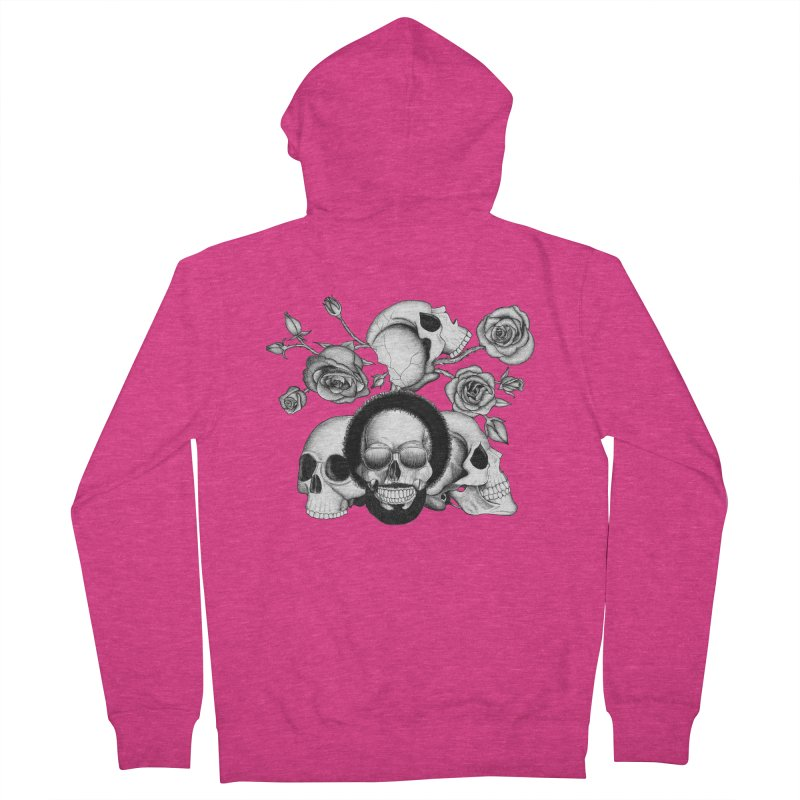 Grunge skulls and roses (afro skull included. Black and white version) Women's Zip-Up Hoody by Beatrizxe