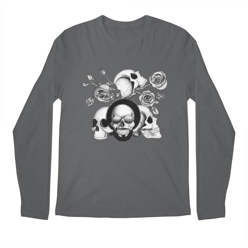 Grunge skulls and roses (afro skull included. Black and white version) Men's Regular Longsleeve T-Shirt by Beatrizxe