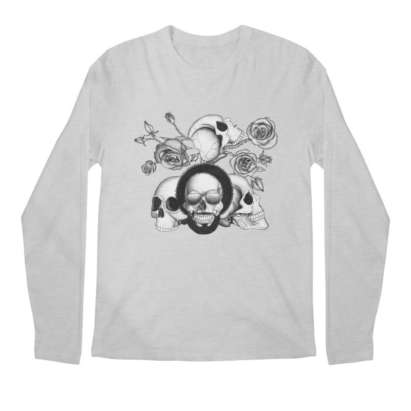 Grunge skulls and roses (afro skull included. Black and white version) Men's Longsleeve T-Shirt by Beatrizxe