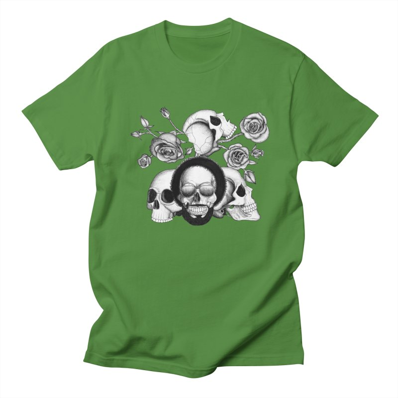 Grunge skulls and roses (afro skull included. Black and white version) Women's Unisex T-Shirt by Beatrizxe
