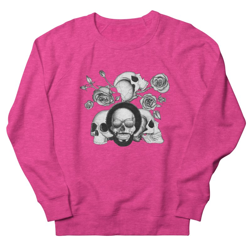 Grunge skulls and roses (afro skull included. Black and white version) Women's Sweatshirt by Beatrizxe