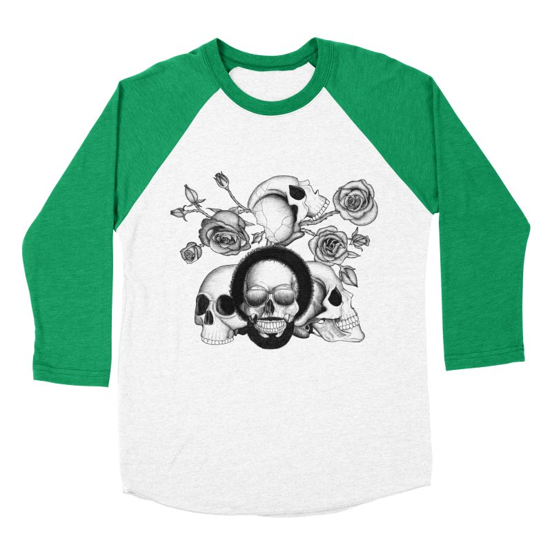 Grunge skulls and roses (afro skull included. Black and white version) Men's Baseball Triblend T-Shirt by Beatrizxe