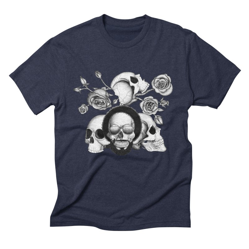 Grunge skulls and roses (afro skull included. Black and white version) Men's Triblend T-shirt by Beatrizxe