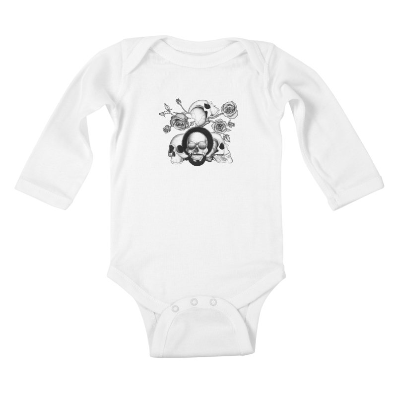 Grunge skulls and roses (afro skull included. Black and white version) Kids Baby Longsleeve Bodysuit by Beatrizxe