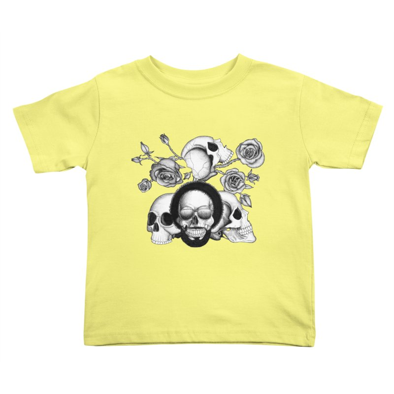Grunge skulls and roses (afro skull included. Black and white version) Kids Toddler T-Shirt by Beatrizxe