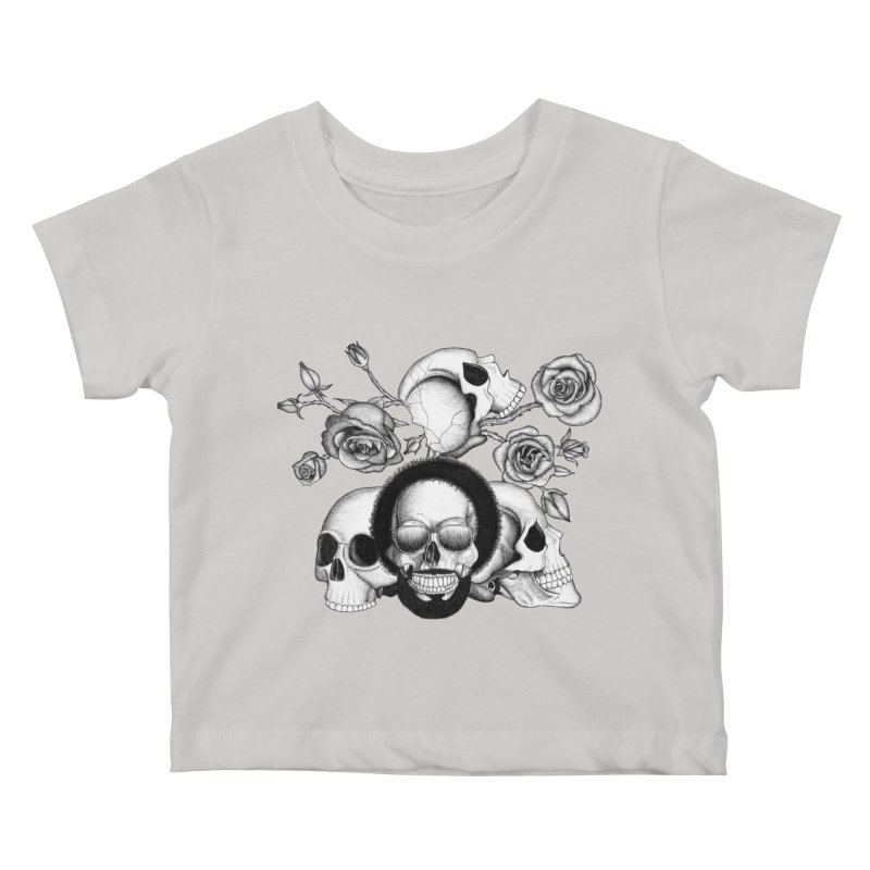 Grunge skulls and roses (afro skull included. Black and white version) Kids Baby T-Shirt by Beatrizxe