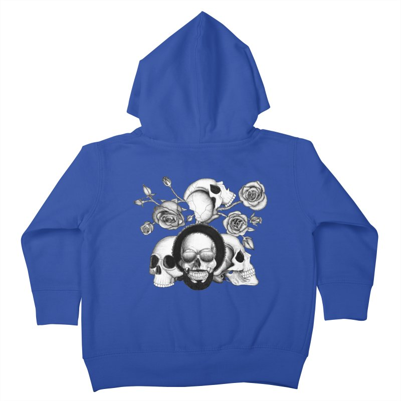 Grunge skulls and roses (afro skull included. Black and white version) Kids Toddler Zip-Up Hoody by Beatrizxe